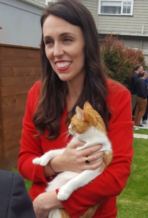 New Zealand Prime Minister Jacinda Ardern with her cat Paddles, who died on 8 Nov 2917 after being hit by a car