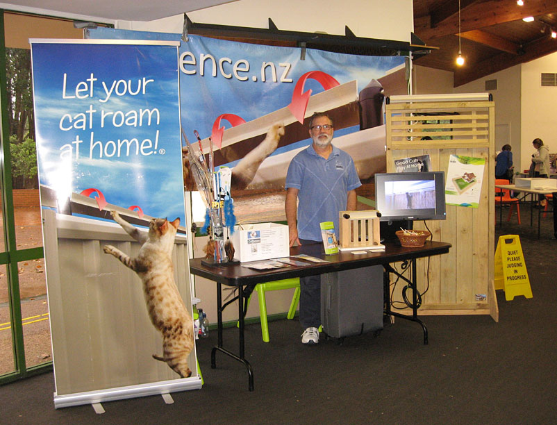 Cat Containment Systems booth at the Auckland Cat Club all-breeds show, 28 April 2018